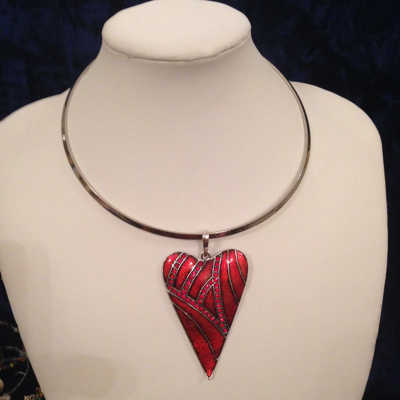 Ruby Red Heart Pendant Uk Hair Extensions